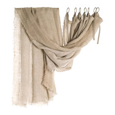 Double Fringed Linen Curtain, Natural Beige