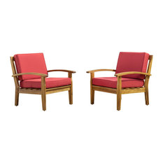 Preston Outdoor Wooden Club Chairs, Red, Set of 2