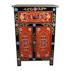 Hand Painted Nightstand Mango Wood With Double Door & 1 Drawer