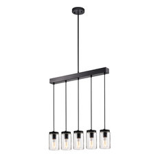 Nando Matte Black 5-Light Linear Chandelier With Clear Glass Jar Shades