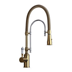 High Arc Swiveling Pull Out Spray Kitchen Faucet with Single Porcelain Handle, G