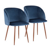 LumiSource Fran Dining Chair, Walnut and Blue Velvet, Set of 2, Walnut and Blu
