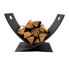 Sunnydaze Black Steel Log Holder Caddy Rack Firewood Storage  - 30-Inch