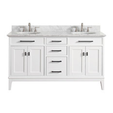 "Avanity Madison 61"" Double Vanity, White Finish, Carrera White Marble Top"