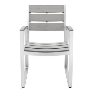 All-Weather Gray Patio Dining Chairs, Set of 2