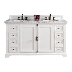 Providence 60-inch Double Vanity Cottage White 3cm Carrara White Marble Oval Sink