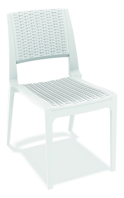 Verona Resin Wickerlook Stacking Patio Chairs Set Of 4 White