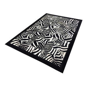 Patchwork Cubed Leather Cowhide Rug, Printed Zebra With Border, 200x300 cm