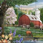 "The Tile Mural Store (USA) - Ceramic Tile Mural, Spring Morning, HP, by Henry Peterson - *12 Tile Mural on 6"" ceramic satin finish tiles.  AMERICAN MADE !!"