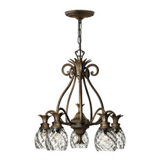 Plantation Chandelier, Pearl Bronze, Clear Optic Glass