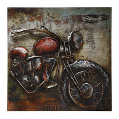 Motorcycle Metal Wall Art Primo Mixed Media Hand Painted 3D Wall Sculpture