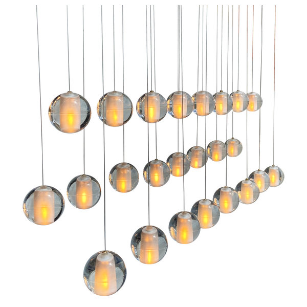 Bistro Clear Glass Globe Chandelier, 12 Light Brushed Nickel Finish