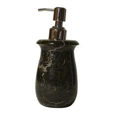 Polished Marble Bathroom Soap/Lotion Dispenser, Black Zebra