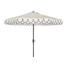 Safavieh - Elegant Valance 9' Umbrella, White/Black - Outdoor Umbrellas