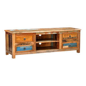 VidaXL Reclaimed Wood TV Cabinet Stand, 4-Drawer