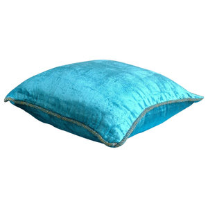 Solid Color Blue Velvet 30x30 Decorative Cushion Covers, Turquoise Shimmer