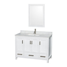 "Sheffield Vanity, 24"" Mirror, White, 48"", Square, White Carrera Marble"