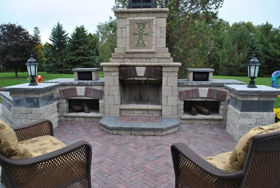 """""""Celtic Knot"""" stone tile fireplace focal point"""