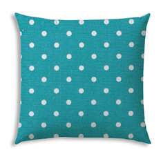 Diner Dot Turquoise Indoor/Outdoor Pillow, Sewn Closure