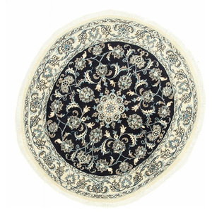 Nain Persian Rug, Round Hand-Knotted Classic, 142x142 cm