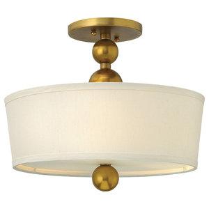 Zelda Modern Semi-Flush Ceiling Light, Vintage Brass