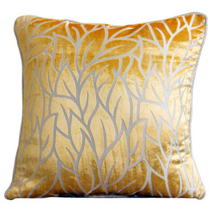 Yellow Leaf Design 60x60 Burnout Velvet Pillow Sham, Mimosa Yellow Leaves