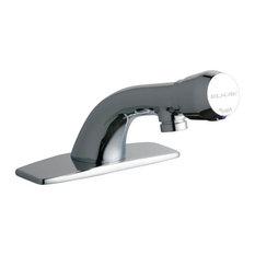 "Elkay 4 1/8"" Push Button Handle Deck Mount Commercial Faucet in Chrome, LK652"
