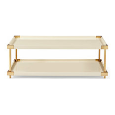 Elena Hollywood Regency Ivory Lacquer Brass Coffee Table   Coffee Tables