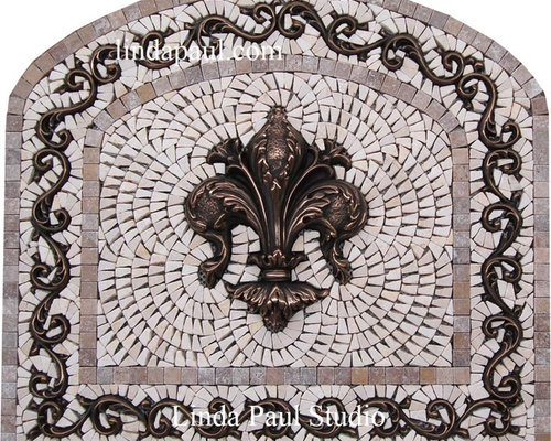 Fleur De Lis Arched Kitchen Backsplash Mosaic Tile And Metal Medallion    Mosaic Tile