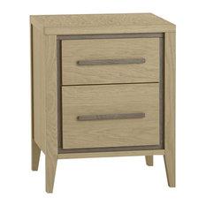 Rimini Aged Oak and Weathered Oak 2-Drawer Bedside Table