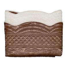 Whispersilk Soft Satin Fleece Reversible Plush Throw 50 x 70, Chocolate