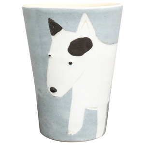 Grey Animal Cups, Bull Terrier, Set of 2