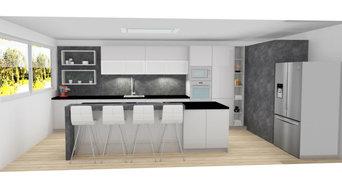 cocina blanca y efecto piedra