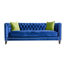 Pasargad Home Victoria Collecion Tufted Velvet Sofa Navy Sofas