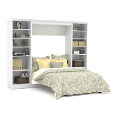 Full Wall Bed With 25 In Storage Unit White