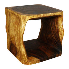 Haussmann Inc.   Natural Cube Sustainable Wood End Table, Livos Walnut Oil  Finish