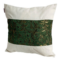 Exquisite Emerald Linen Patch Work Pillow Floor Cushion (19.7 by 19.7 inches)