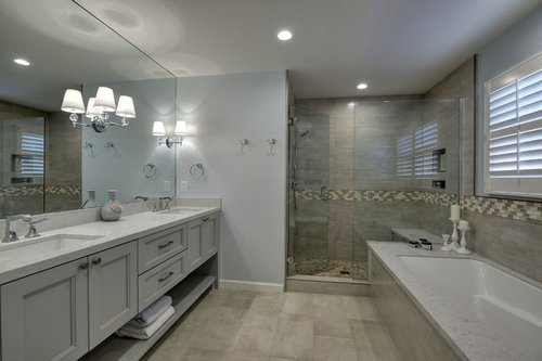 Single sink vanity, or a double sink vanity? I think it's easy to say two is better then one! It makes it easier for two people to get ready at the same ...