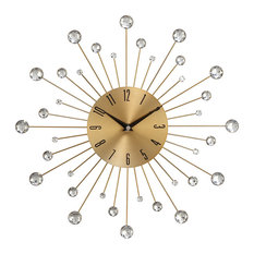 Uma Enterprises   Modern Reflections Metal And Wall Clock, Gold/Black   Wall  Clocks