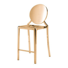 Modern Contemporary Counter Chair Stool Set Of 2 Gold Stainless Steel