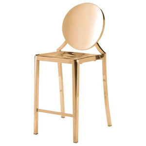 Modern Contemporary Counter Chair Stool, Set of 2, Gold, Stainless Steel
