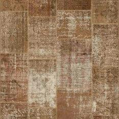 Rugsville Vintage Turkish Overdyed Patchwork Sandstorm Wool Rug 11083