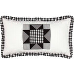 VHC Brands - Emmie King Sham - An on trend yet classically styled look for the modern farmhouse, the Emmie King Sham captures attention with contrasting black and white, creating a statement look for your bedroom. The heart of this sham is an 8-point star set within a patchwork block of checks, microchecks and ticking stripes. Hand-quilted, 100% cotton. Features three tie-enclosures with three-inch overlaps to conceal inserts.