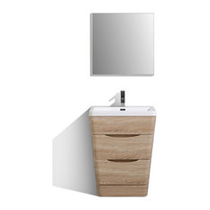 Victoria Oak Modern Bathroom Vanity Integrated Acrylic Sink, 25""