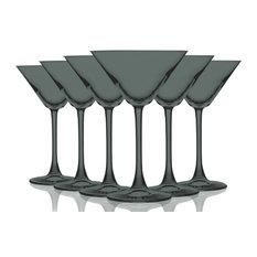 Martini 10 oz Accent Stem Wine Glasses Set of 6, Full S-Gray