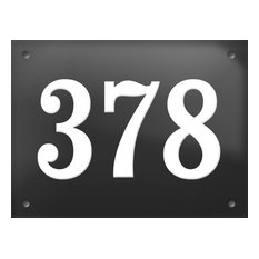 """Number """"378"""" Enamelled Wall Plaque, Grey, Without Border"""