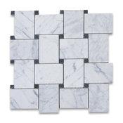 "11""x11"" Carrara White Large Basketweave Mosaic Tile With Black Dots Honed"