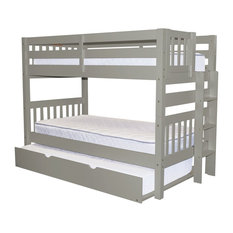 Bunk Bed King - Bedz King Bunk Beds Twin Over Twin, End Ladder and Twin Trundle, Gray - Bunk Beds