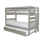 Bedz King Bunk Beds Twin over Twin, End Ladder and a Twin Trundle, Gray