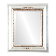 """Boston Framed Rectangle Mirror in Silver Leaf with Brown Antique, 25""""x35"""""""